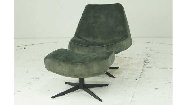 Draaifauteuil + Poef Albe - Outlet