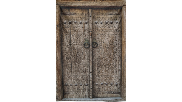 Wandkleed Wooden Door with ancient Flora