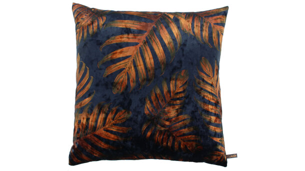Sierkussen Royal blue copper Jungle Leaves Ice | Claudi Chique