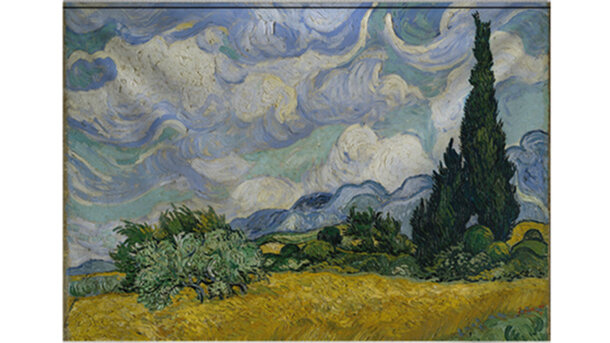 Wandkleed Wheat field with Cypresses, 1889 Vincent van Gogh