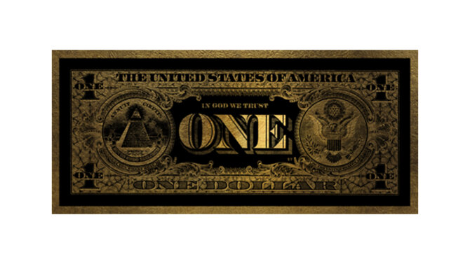 Schilderij One Dollar gold